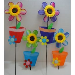 "36 Units of 11"" Wind Spinner-Sunflower & Flower Pot - Wind Spinners"