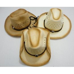 48 Units of Cowboy Hat with Medallion [Distressed Look] - Cowboy & Boonie Hat