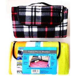 12 Units of Fleece Picnic Beach Blanket - Beach Towels