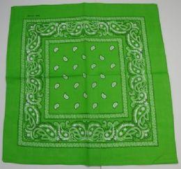 48 Units of Bandana-Lime Green Paisley - Bandanas