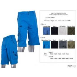 48 Units of Mens Long Cargo Pants With Belt Size 32-42 100% Cotton - Mens Shorts
