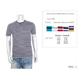 36 Units of Mens Henley Stripe T-Shirt S-xl - Mens T-Shirts