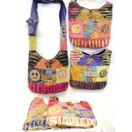 24 Units of Hobo Hippie Sling Crossbody Patch Peace Purse Nepal Bag - Handbags