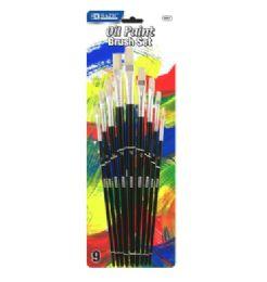72 Units of Bazic Asst. Size Oil Paint Brush Set (9/pack) - Paint, Brushes & Finger Paint