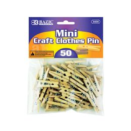 72 Units of BAZIC Mini Natural Clothes Pin (50/Pack) - Clothes Pins