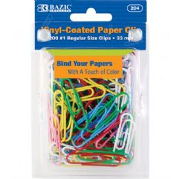 24 Units of BAZIC No.1 Regular (33mm) Color Paper Clips (200/Pack) - Clips and Fasteners