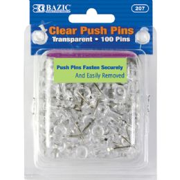 144 Units of Bazic Clear Transparent Push Pins (100/pack) - Push Pins and Tacks