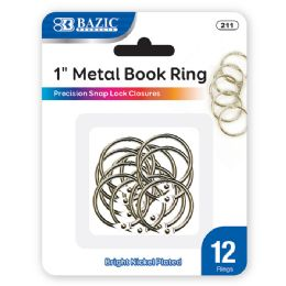 """24 Units of Bazic 1"""" Metal Book Rings (12/pack) - Clips and Fasteners"""