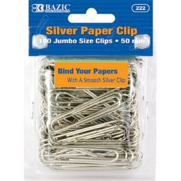 24 Units of BAZIC Jumbo (50mm) Silver Paper Clip (100/Pack) - Clips and Fasteners