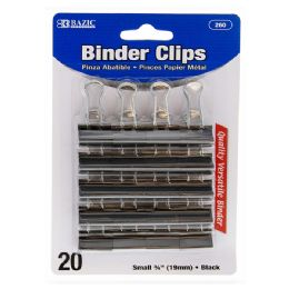"48 Units of BAZIC Small 3/4"" (19mm) Black Binder Clip (20/Pack) - Clips and Fasteners"