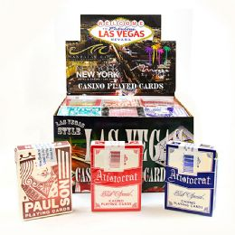 144 Units of Assorted Used Las Vegas Casino Playing Card W/ Pdq Display - Card Games