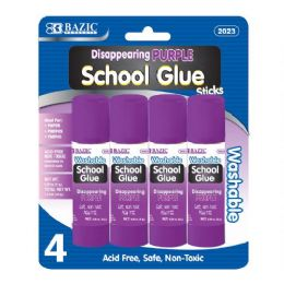 24 Units of BAZIC 8g / 0.28 Oz.  Small Washable Purple Glue Stick (4/Pack) - Glue Office and School