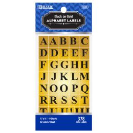 48 Units of Bazic Gold Foil Alphabet Label (378/pack) - Labels ,Cards and Index Cards