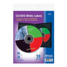"""24 Units of Bazic 4 5/8"""" Cd/dvd White Label (20/pack) - Labels ,Cards and Index Cards"""