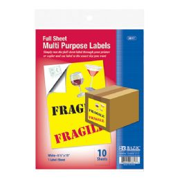 """48 Units of Bazic 8.5"""" X 11"""" Full Sheet White Multipurpose Labels (10/pk) - Labels ,Cards and Index Cards"""