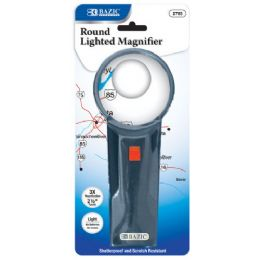 "48 Units of BAZIC 2.5"" Round 3x Lighted Magnifier - Magnifying  Glasses"