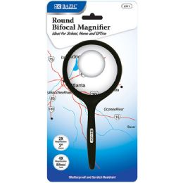 "48 Units of BAZIC 3"" Round 2x Handheld Magnifier & 4x Bifocal Inset - Magnifying  Glasses"