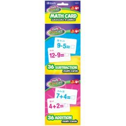 24 Units of BAZIC 36 Ct. Addition & Subtraction Mini Flash Card (2/Pack) - Teacher & Student