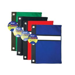 72 Units of BAZIC Assorted Color 3-Ring Pencil Pouch - Storage Holders and Organizers