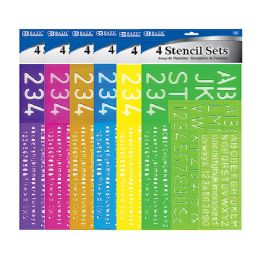 72 Units of Bazic 8, 10, 20, 30 Mm Size Lettering Stencil Sets (4/pack) - Rulers