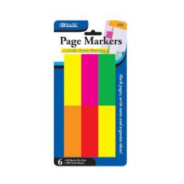 "48 Units of Bazic 80 Ct. 1"" X 3"" Neon Page Markers (6/pack) - Dry Erase"