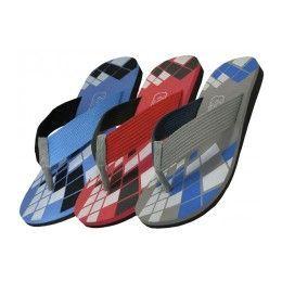 36 Units of Men's Checkered Sport Flip Flops - Men's Flip Flops and Sandals