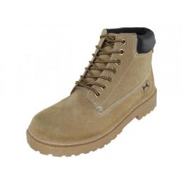 12 Units of Men's Nubuck Leather Work Boots Tan Color - Men's Work Boots