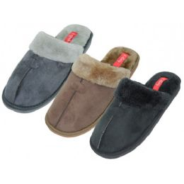 36 Units of Men's Velour with Fur House Slippers - Men's Slippers