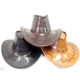 48 Units of Faux Leather Cowboy Hats With Bull Head Assorted Colors - Cowboy & Boonie Hat