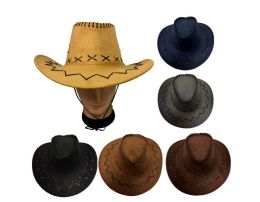 48 Units of Cowboy Hats Suede Leather Look Assorted Colors - Cowboy & Boonie Hat