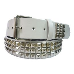 48 Units of Pyramid Studded Silver Belt - Unisex Fashion Belts