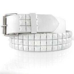 48 Units of Pyramid Studded White Belt - Unisex Fashion Belts