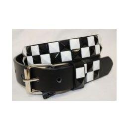 48 Units of Pyramid Studded Black & White Belt - Unisex Fashion Belts