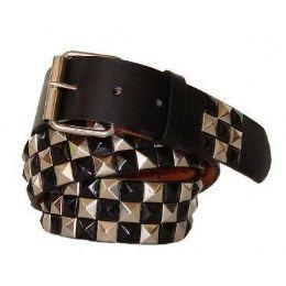 48 Units of Pyramid Studded Gold & Black Belt - Unisex Fashion Belts