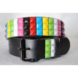 48 Units of Pyramid Studded Rainbow Belt - Unisex Fashion Belts