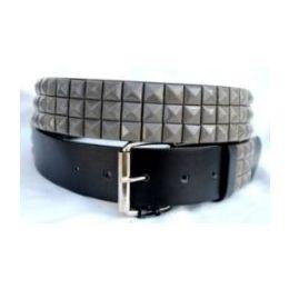 48 Units of Pyramid Studded Grey Belt - Unisex Fashion Belts