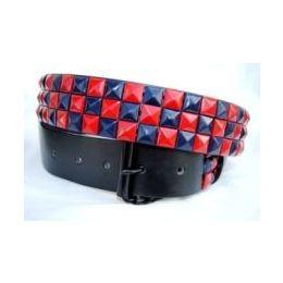 48 Units of Pyramid Studded Blue & Red Belt - Unisex Fashion Belts