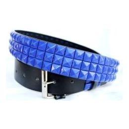 48 Units of Pyramid Studded Blue Belt - Unisex Fashion Belts