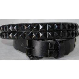 48 Units of Kids Belts Black Studs On Black Belts - Kid Belts