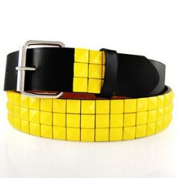 48 Units of 3-Row Metal Pyramid Studded Leather Belt Unisex Mens Womens - Unisex Fashion Belts