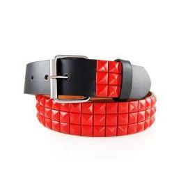 48 Units of 2-Row Metal Pyramid Studded Leather Belt Unisex Mens Womens - Unisex Fashion Belts