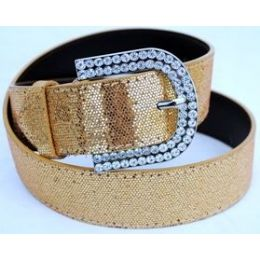 48 Units of Rhinestone Buckle Gold Sparkle Belt - Womens Belts
