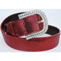 48 Units of Rhinestone Buckle Red Sparkle Belt - Womens Belts