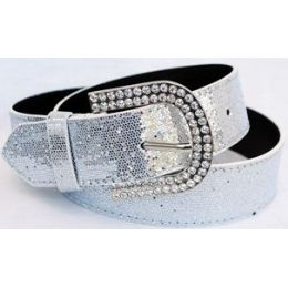 48 Units of Rhinestone Buckle Silver Spark Belt - Womens Belts