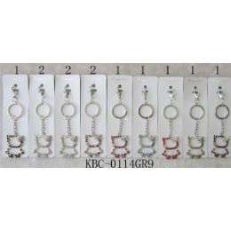 48 Units of Key Chain Kitty With Stone Assorted - Key Chains