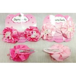 72 Units of Pink Gator Clip Kitty Barrettes 2pcs/pk hot pink - Hair Accessories
