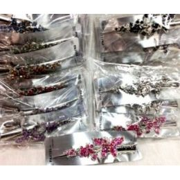 48 Units of 5inch Butterfly Metal Salon Clips Assorted Colors - Hair Accessories