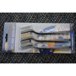 "48 Units of 12 Pcs Of 3pc 7"" Mini Wire Brush SeT-Black Handle - Brushes"