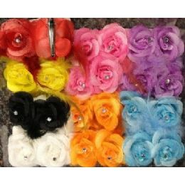 36 Units of Hair Flower with Feather assorted colors - Hair Accessories
