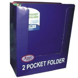 50 Units of 2 Pocket 3 Holes Poly Clear Line Folder 5 Asst Colors In Display - Folders and Report Covers